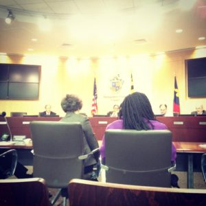 Public Arts Trust consultant, Michele Cohen, and AHCMC CEO Suzan Jenkins testifying to Montgomery County Council