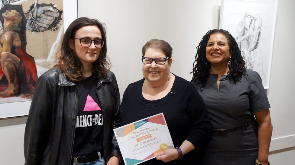 From left: Amal Haddad – 2018 Fran Abrams Creative Writing Award recipient, Fran Abrams – Former AHCMC Grants Director, Suzan Jenkins – AHCMC CEO.